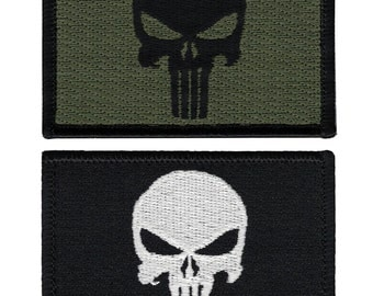Set Of 2 Velcro Punisher Patches - Black & Olive Drab