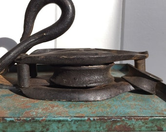 Vintage Industrial  Metal Pulley