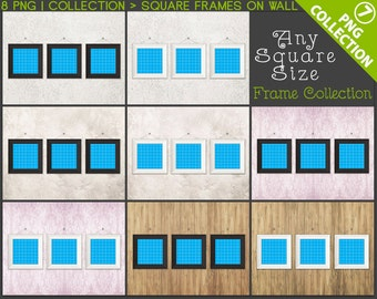 Square #C07 Frame Scene Collection Set of 3 Wide White & Black Unmatted Frames Hanging on Different Walls, 8 Print Display PNG styled scenes