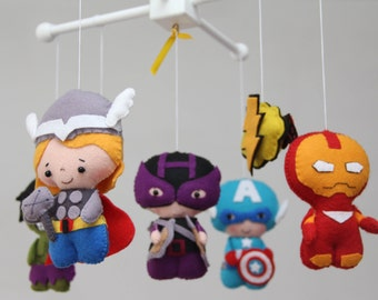 Baby Mobile - Super Hero Mobile - Thor,Hawkeye,Hulk- Superhero Mobile - The Avengers Mobile - Baby Crib Mobile, Nursery Super Heroes Mobile