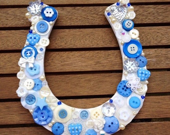 Wedding button horseshoe - blue bridal good luck wedding gift, wedding accessory, UK seller
