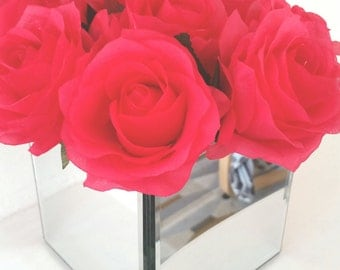 hot pink roses in mirror cube vase flower floral arrangement