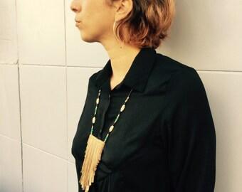ON SALE Boho chic Necklace, Statement Necklace  ,Handmade Necklace , Fringes Necklace
