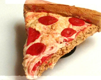 Realistic Pepperoni Pizza Slice Magnet - Miniature Food - Pizza Magnet - Food Magnet, Junk Food Magnet - Clay Pizza