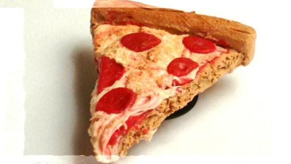 Realistic Pepperoni Pizza Slice Magnet - Miniature Food - Pizza Magnet - Food Magnet, Junk Food Magnet - Clay Pizza
