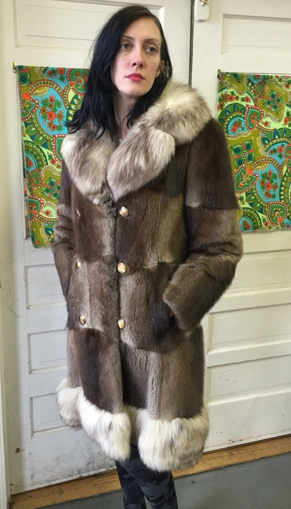 Awesome patchwork 1960s fur coat
