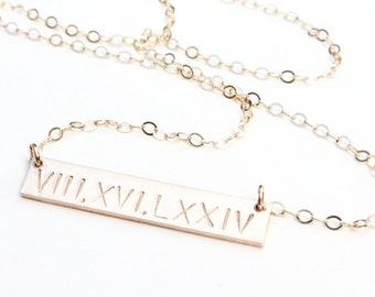Roman Numeral Necklace / Wedding Date Necklace / Date Necklace /Gold Roman Numeral Necklace/Silver Roman Numeral / Rose Gold