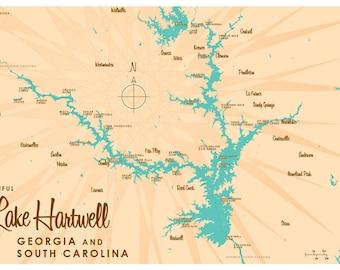 Lake Hartwell, GA & SC Map Print
