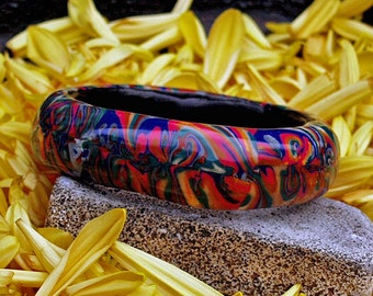 Chunky Bangle - Psychedelic hippy bangle .Handmade polymer clay bangle .Flaming Groovey !