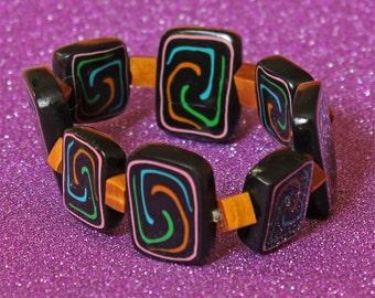 Bead Bracelet - Handmade Bead Bracelet - Artisan Designer Polymer Clay Tile Bracelet - Primitive Spirals !