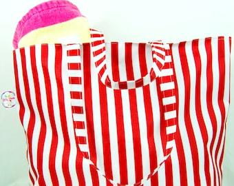 Red Stripe Waterproof Beach/Tote Bag, internal zipped pocket