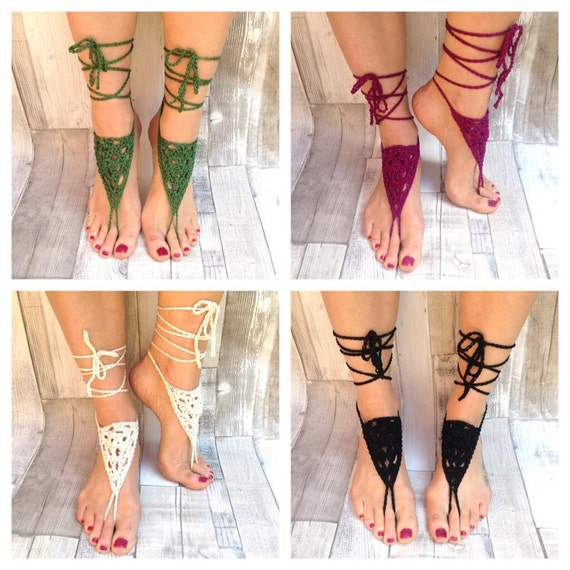 Barefoot sandals, crochet sandals, hippy ,barefoot hippie, barefoot, yoga shoes, hula hooping,festival, cotton, vegan,black beach sandals