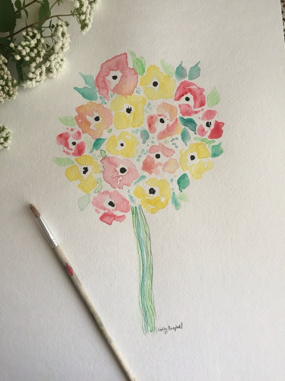 Original Watercolor and Ink Painting, Flower Bouquet Painting, Watercolor Flower Paint, Art