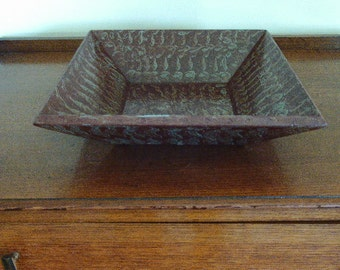 Square wooden bowl vinegar painted in sienna
