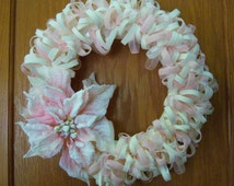 Christmas Kiss of winter...Soft, warm and elegant Pink Poinsettia wreath