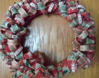 Home-Spun Christmas Ribbon Wreath-