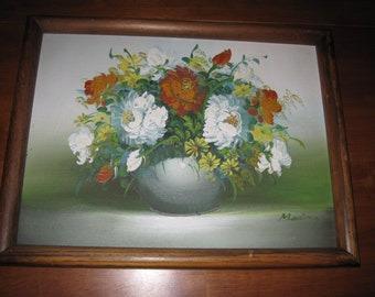 REDUCED!!Vintage Medina still life on canvas floral picture