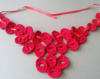 Red crochet collar, red crochet necklace, Woman Accessory, neck accessories, fashion clothes, red necklace
