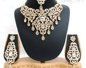Elegant Bridal Set Heavy Gold Plated Diamante Crystal Vintage Indian Jewelry Necklace Earrings & Tikka Wedding Jewellery Party Prom NS02G
