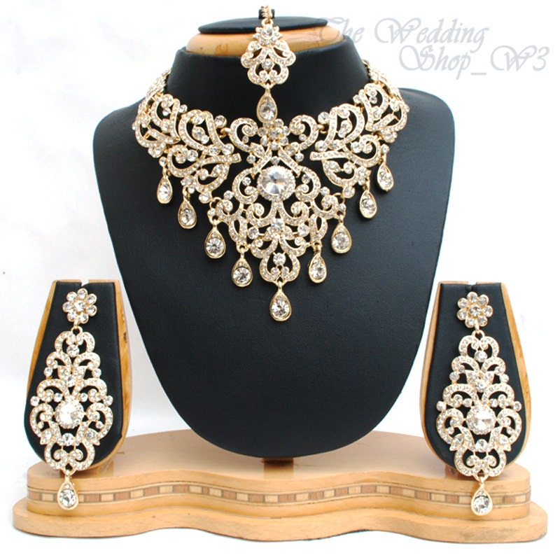 Elegant bridal set heavy gold plated diamante crystal vintage for Bridesmaid jewelry sets under 20