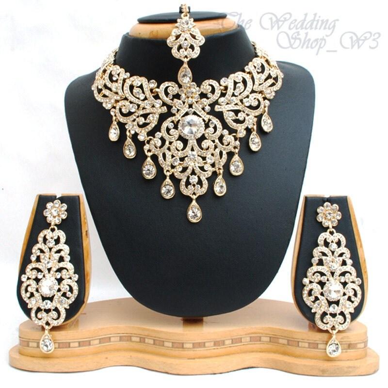 Indian Fashion Jewelry Bollywood Bridal Gold Plated Cz: Elegant Bridal Set Heavy Gold Plated Diamante Crystal Vintage