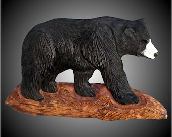 American Black Bear Version 2 Wall Sculpture-hand carved in Alder wood