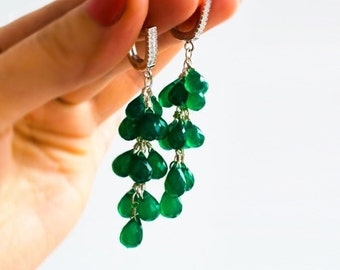 Long earrings with chrysoprase and silver