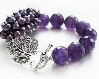 Bracelet with amethyst and pearls LANGUID BERRY