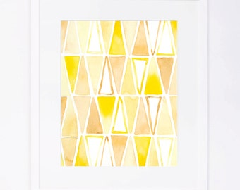 Yellow Triangles Pattern Watercolor Print