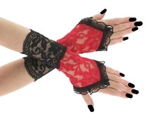 Black red lace fingerless gloves wrist warmers gothic burlesque vintage bohemian womens evening gloves, victorian goth lolita vampire 0670A
