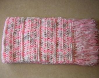 Scarf - Crochet from very soft yarn -  Pink, Grey and White Scarf, Winter Scarf, Crochet Scarf - READY TO SHIP