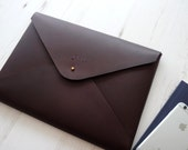 MONOGRAM A4 Leather Document Portfolio Case Letter Paper Tablet Folder Holder Custom  Chocolate