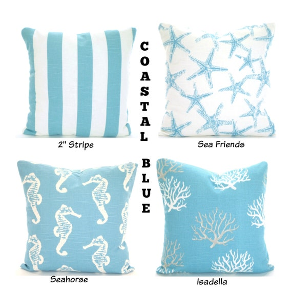 Coastal Decorative Pillow Covers : Coastal Blue Nautical Pillow Covers Aqua by PillowCushionCovers