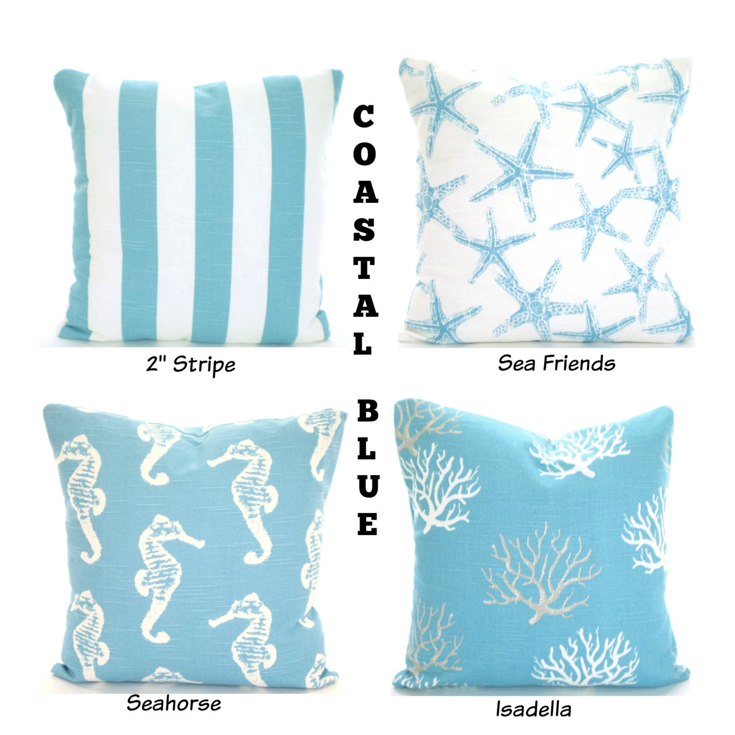 Nautical Decorative Pillow Covers : Coastal Blue Nautical Pillow Covers Aqua by PillowCushionCovers