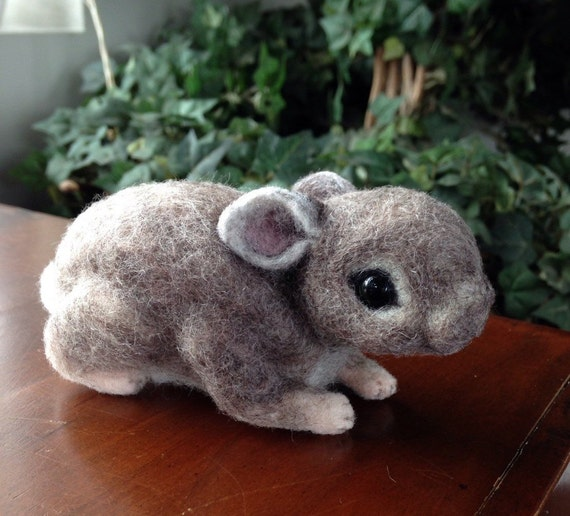 Needle felted rabbit new born cotton tail bunny brown Soft sculpture unique gift idea small animal pet toy cute present OOAK handmade rabbit