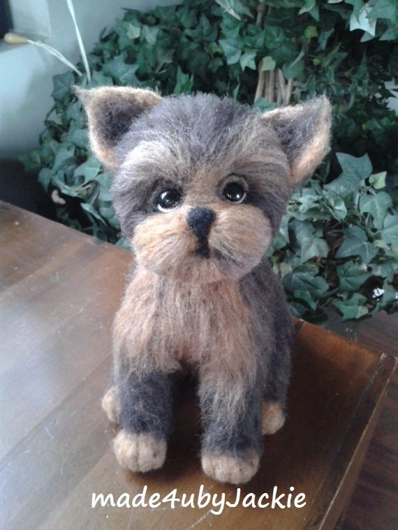 Needle felted dog,felted Yorkie, miniature gift, brown and tan Yorkshire Terrier dog, Yorkie puppy, Tea cup puppy, mother's day gift, OOAK