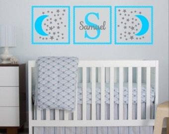 Nursery Wall Decal, Nursery Name Decal, Baby Boy Nursery, Baby Girl Nursery Decor, Moon and Stars Nursery, Moon and Stars Decals