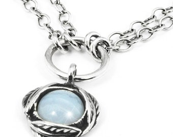 Sterling Silver Necklace - Chalcedony Pendant - Blue Lace Agate Necklace - Handmade Jewelry