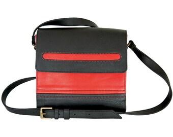 Black and Red leather shoulder bag from OleksynPrannyk
