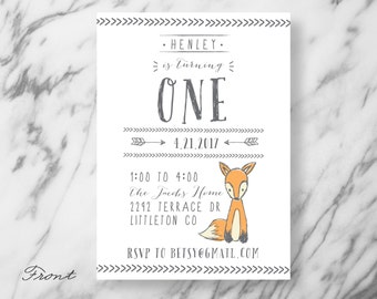 Animal Birthday Invitation - Woodland Creature - Woodsy - Forest - Illustrated - Fox theme - First Birthday - Invitation - Birthday Party