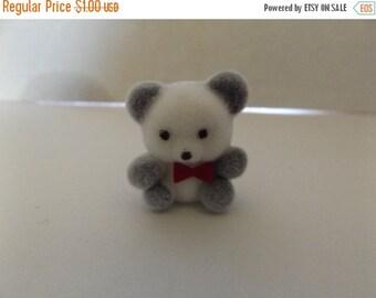 "Sale Dollhouse Miniature Flocked 1""  White/grey Panda Bear"