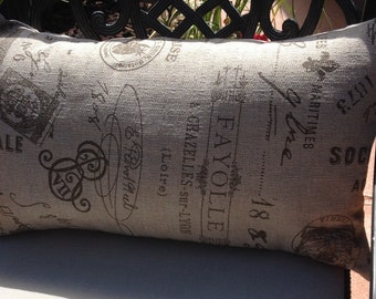 Fun Throw Pillow Parisian Faux Burlap look