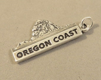 Sterling Silver OREGON COAST Charm Pendant Oregon Cannon Gold Beach Coos Depoe Bay Astoria Pacific Ocean .925 Sterling Silver New tr114