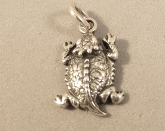 Sterling Silver HORNED TOAD Charm Pendant Small Texas Frog Lizard Reptile Oxidized .925 Sterling Silver New an100