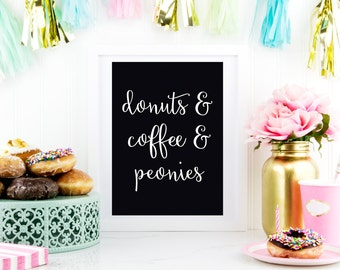 donuts and coffee and peonies Black printable art INSTANT DOWNLOAD