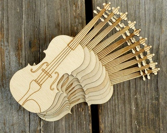 10x Wooden Violin Musical Instrument Craft Shapes 3mm Plywood Music Hobby