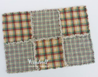 Farmhouse Placemat, Red Yellow Green, Primitive, Country Kitchen, Rustic, Table Topper, Windmill Country Threads