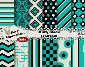 Mint, Black and Cream Digital Paper pack comes in modern and vintage designs, including damask, chevron, spoons, polka dots, stripes, & more