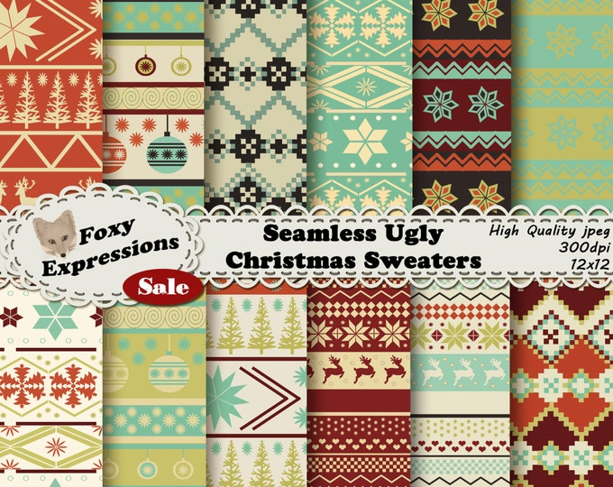 Seamless Ugly Christmas Sweater Digital paper in shades of green, cream, reds, and black. Designs are deer, hearts, ornaments, trees & snow