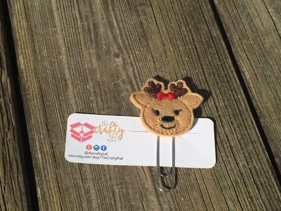 Girl Reindeer Planner Clip/Paper Clip/Feltie. Christmas Planner Clip
